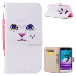 White Cat PU Leather Wallet Case for Samsung Galaxy J3 2016 J320