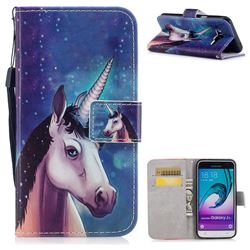 Blue Unicorn PU Leather Wallet Case for Samsung Galaxy J3 2016 J320