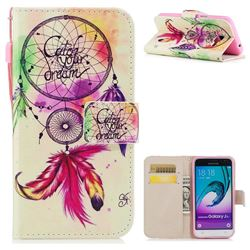 Feather Wind Chimes PU Leather Wallet Case for Samsung Galaxy J3 2016 J320