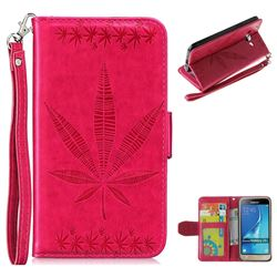 Intricate Embossing Maple Leather Wallet Case for Samsung Galaxy J3 2016 J320 - Rose