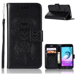 Intricate Embossing Owl Campanula Leather Wallet Case for Samsung Galaxy J3 2016 J320 - Black