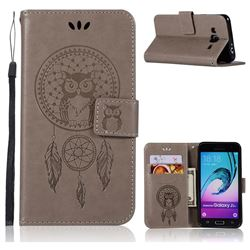 Intricate Embossing Owl Campanula Leather Wallet Case for Samsung Galaxy J3 2016 J320 - Grey