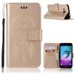Intricate Embossing Owl Campanula Leather Wallet Case for Samsung Galaxy J3 2016 J320 - Champagne