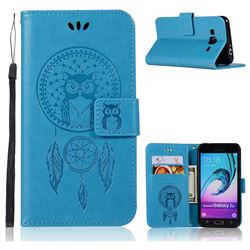 Intricate Embossing Owl Campanula Leather Wallet Case for Samsung Galaxy J3 2016 J320 - Blue