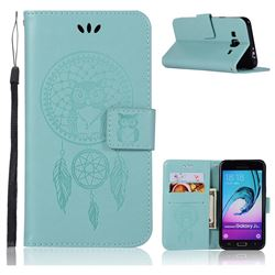 Intricate Embossing Owl Campanula Leather Wallet Case for Samsung Galaxy J3 2016 J320 - Green