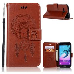 Intricate Embossing Owl Campanula Leather Wallet Case for Samsung Galaxy J3 2016 J320 - Brown