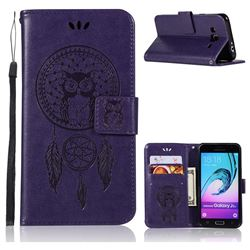 Intricate Embossing Owl Campanula Leather Wallet Case for Samsung Galaxy J3 2016 J320 - Purple