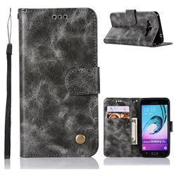 Luxury Retro Leather Wallet Case for Samsung Galaxy J3 2016 J320 - Gray