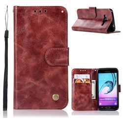 Luxury Retro Leather Wallet Case for Samsung Galaxy J3 2016 J320 - Wine Red