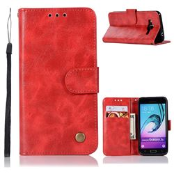 Luxury Retro Leather Wallet Case for Samsung Galaxy J3 2016 J320 - Red