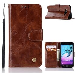 Luxury Retro Leather Wallet Case for Samsung Galaxy J3 2016 J320 - Brown
