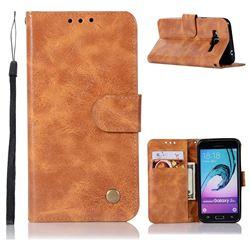 Luxury Retro Leather Wallet Case for Samsung Galaxy J3 2016 J320 - Golden