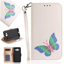 Imprint Embossing Butterfly Leather Wallet Case for Samsung Galaxy J3 2016 J320 - White