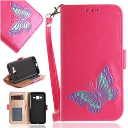 Imprint Embossing Butterfly Leather Wallet Case for Samsung Galaxy J3 2016 J320 - Rose Red
