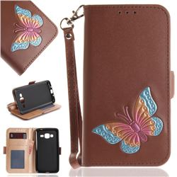Imprint Embossing Butterfly Leather Wallet Case for Samsung Galaxy J3 2016 J320 - Brown