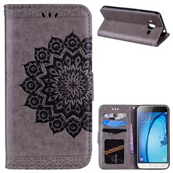 Datura Flowers Flash Powder Leather Wallet Holster Case for Samsung Galaxy J3 2016 J320 - Gray