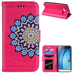 Datura Flowers Flash Powder Leather Wallet Holster Case for Samsung Galaxy J3 2016 J320 - Rose
