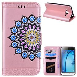 Datura Flowers Flash Powder Leather Wallet Holster Case for Samsung Galaxy J3 2016 J320 - Pink
