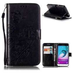 Embossing Butterfly Flower Leather Wallet Case for Samsung Galaxy J3 2016 J320 - Black