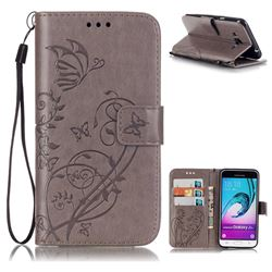 Embossing Butterfly Flower Leather Wallet Case for Samsung Galaxy J3 2016 J320 - Grey