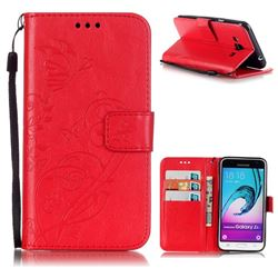 Embossing Butterfly Flower Leather Wallet Case for Samsung Galaxy J3 2016 J320 - Red