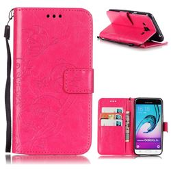 Embossing Butterfly Flower Leather Wallet Case for Samsung Galaxy J3 2016 J320 - Rose