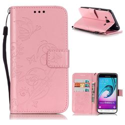 Embossing Butterfly Flower Leather Wallet Case for Samsung Galaxy J3 2016 J320 - Pink