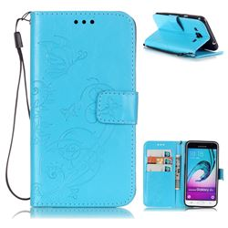 Embossing Butterfly Flower Leather Wallet Case for Samsung Galaxy J3 2016 J320 - Blue