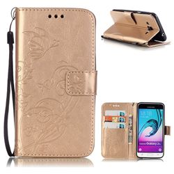 Embossing Butterfly Flower Leather Wallet Case for Samsung Galaxy J3 2016 J320 - Champagne