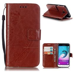 Embossing Butterfly Flower Leather Wallet Case for Samsung Galaxy J3 2016 J320 - Brown