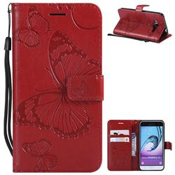 Embossing 3D Butterfly Leather Wallet Case for Samsung Galaxy J3 2016 J320 - Red