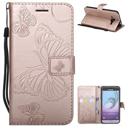 Embossing 3D Butterfly Leather Wallet Case for Samsung Galaxy J3 2016 J320 - Rose Gold