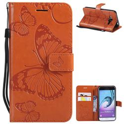 Embossing 3D Butterfly Leather Wallet Case for Samsung Galaxy J3 2016 J320 - Orange