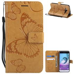 Embossing 3D Butterfly Leather Wallet Case for Samsung Galaxy J3 2016 J320 - Yellow