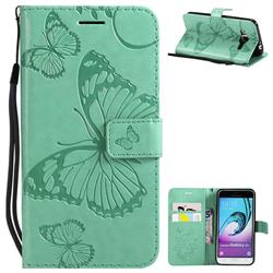 Embossing 3D Butterfly Leather Wallet Case for Samsung Galaxy J3 2016 J320 - Green
