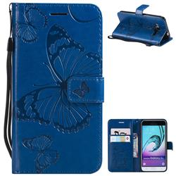Embossing 3D Butterfly Leather Wallet Case for Samsung Galaxy J3 2016 J320 - Blue