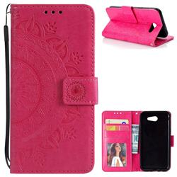 Intricate Embossing Datura Leather Wallet Case for Samsung Galaxy J3 2016 J320 - Rose Red