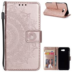 Intricate Embossing Datura Leather Wallet Case for Samsung Galaxy J3 2016 J320 - Rose Gold