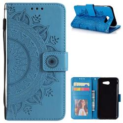 Intricate Embossing Datura Leather Wallet Case for Samsung Galaxy J3 2016 J320 - Blue