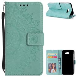 Intricate Embossing Datura Leather Wallet Case for Samsung Galaxy J3 2016 J320 - Mint Green