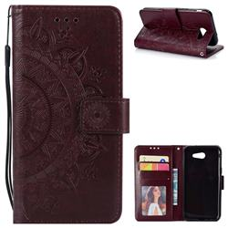 Intricate Embossing Datura Leather Wallet Case for Samsung Galaxy J3 2016 J320 - Brown