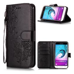 Intricate Embossing Dandelion Butterfly Leather Wallet Case for Samsung Galaxy J3 2016 J320 - Black