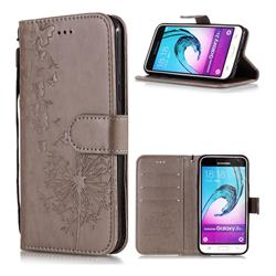 Intricate Embossing Dandelion Butterfly Leather Wallet Case for Samsung Galaxy J3 2016 J320 - Gray
