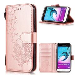 Intricate Embossing Dandelion Butterfly Leather Wallet Case for Samsung Galaxy J3 2016 J320 - Rose Gold