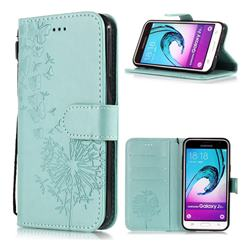 Intricate Embossing Dandelion Butterfly Leather Wallet Case for Samsung Galaxy J3 2016 J320 - Green