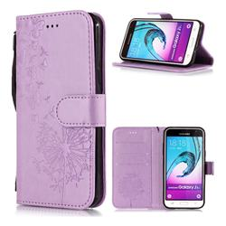 Intricate Embossing Dandelion Butterfly Leather Wallet Case for Samsung Galaxy J3 2016 J320 - Purple