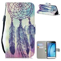 Feather Wind Chimes 3D Painted Leather Wallet Phone Case for Samsung Galaxy J3 2016 J320
