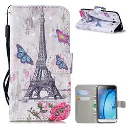 Paris Tower 3D Painted Leather Wallet Phone Case for Samsung Galaxy J3 2016 J320
