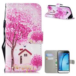 Tree House 3D Painted Leather Wallet Phone Case for Samsung Galaxy J3 2016 J320
