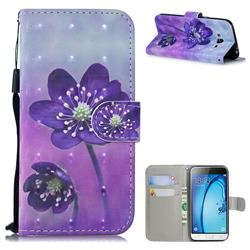 Purple Flower 3D Painted Leather Wallet Phone Case for Samsung Galaxy J3 2016 J320